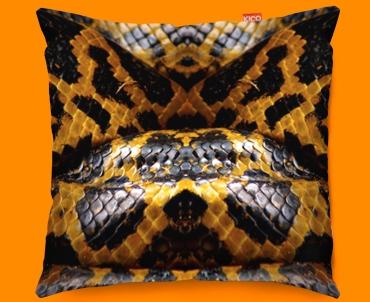 Animal Skin Yellow Snake Funky Sofa Cushion 45x45cm