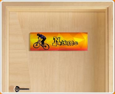 BMX Personalised Name Children's Bedroom Door Sign