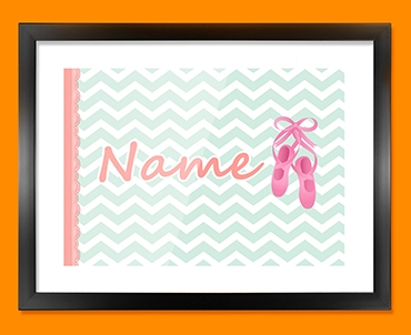 Ballet Personalised Childrens Name Framed Print