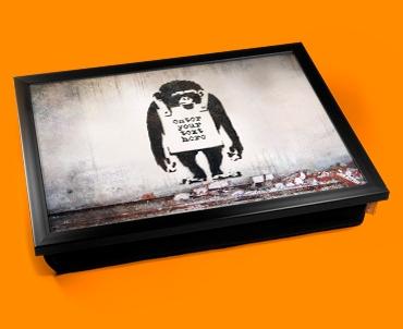 Personalised Banksy Chimp Custom Cushion Lap Tray