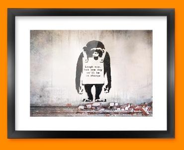 Banksy Chimp Framed Print