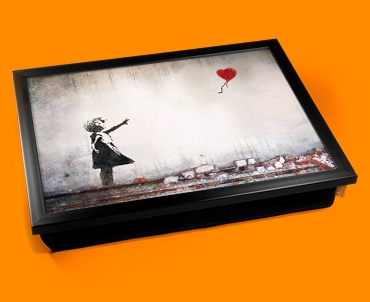 Banksy Heart Balloon Cushion Lap Tray