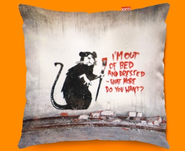 Banksy Out Of Bed Rat Funky Sofa Cushion 45x45cm