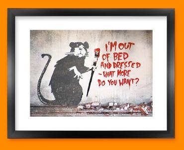 Banksy Out of Bed Rat Framed Print