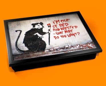 Banksy Out of Bed Rat Cushion Lap Tray