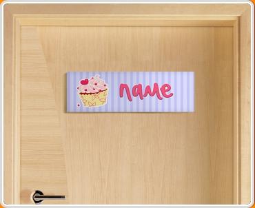 Cupcake Personalised Name Children's Bedroom Door Sign