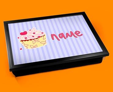 Cupcake Personalised Childrens Name Cushion Lap Tray