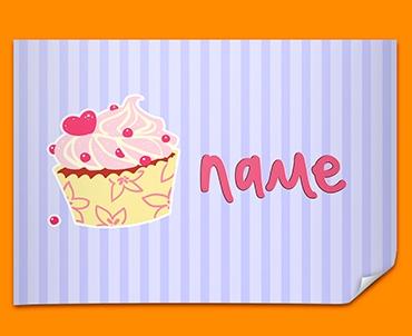 Cupcake Personalised Childrens Name Poster
