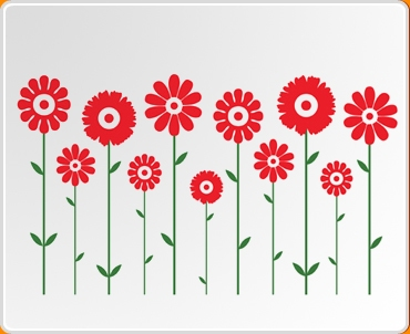 Dual Symmetrical Flowers Wall Sticker