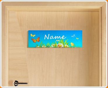 Flowers Personalised Name Children's Bedroom Door Sign