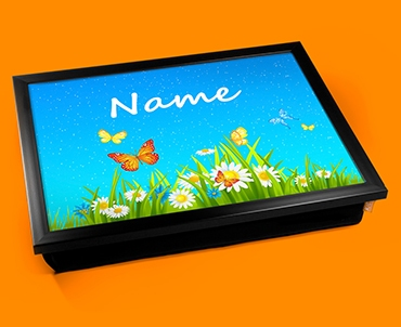 Flowers Personalised Childrens Name Cushion Lap Tray