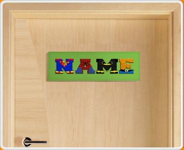 Green Superhero Name Bedroom Door Sign