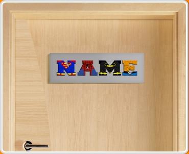 Grey Superhero Name Bedroom Door Sign