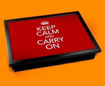 Keep Calm Carry On Cushion Lap Tray