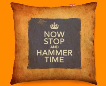 Keep Calm Vintage Hammer Time Funky Sofa Cushion 45x45cm