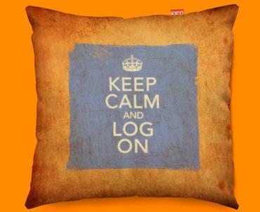 Keep Calm Vintage Log On Funky Sofa Cushion 45x45cm