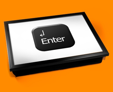 Key Enter Black Cushion Lap Tray