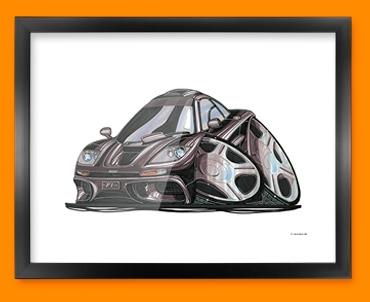 McClaren F1 GTR Car Caricature Illustration Framed Print