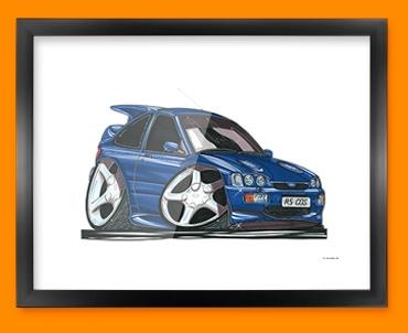 Ford Escort Cosworth Car Caricature Illustration Framed Print