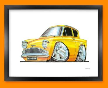 Ford Anglia Car Caricature Illustration Framed Print