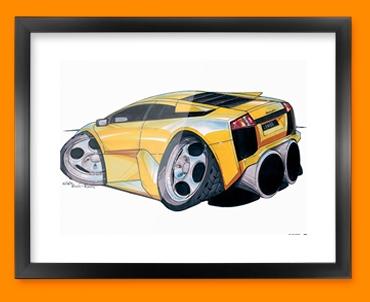 Lamborghini Murceilago Car Caricature Illustration Framed Print