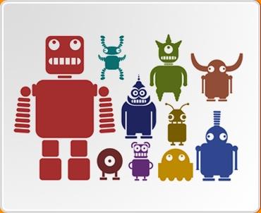 Multicoloured Robots Set Wall Sticker