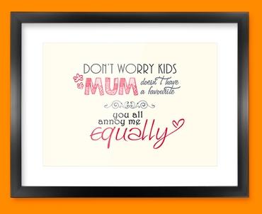 Mum Typography Framed Print