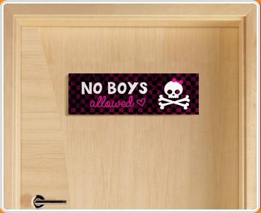 No Boys Allowed Children's Bedroom Door Sign