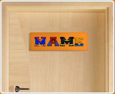Orange Superhero Name Bedroom Door Sign