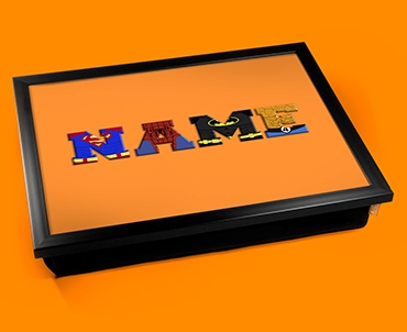Orange Superhero Personalised Childrens Name Cushion Lap Tray