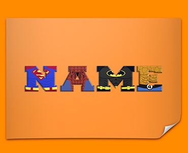 Orange Superhero Personalised Childrens Name Poster