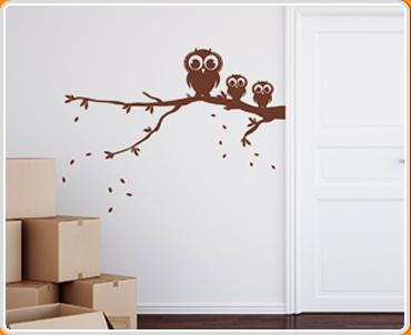 Owls on Branch Wall Sticker
