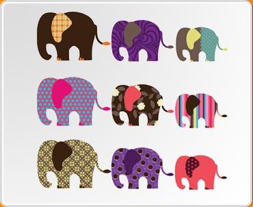 Patterned Elephants Set Wall Sticker