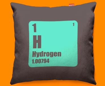Periodic Table Hydrogen Funky Sofa Cushion 45x45cm