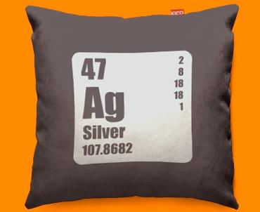 Periodic Table Silver Funky Sofa Cushion 45x45cm