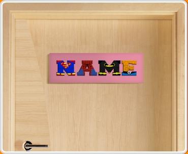Pink Superhero Name Bedroom Door Sign