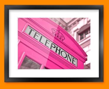 Pink Telephone Box Framed Print