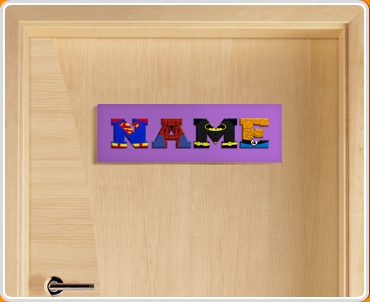 Purple Superhero Name Bedroom Door Sign