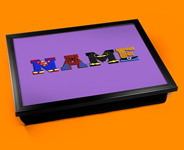 Purple Superhero Personalised Childrens Name Cushion Lap Tray