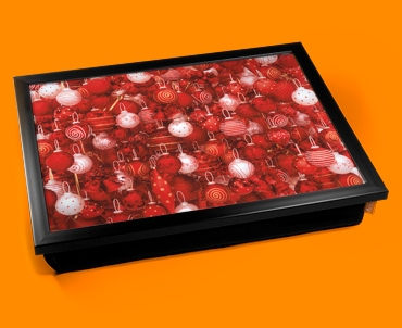 Red Baubles Cushion Lap Tray