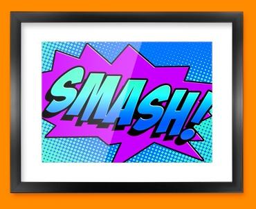 SMASH Comic SFX Framed Print