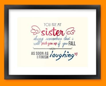 Sister Typography Framed Print