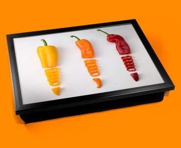 Sliced Chillies Cushion Lap Tray