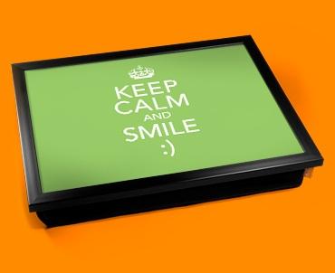 Smile Keep Calm Cushion Lap Tray
