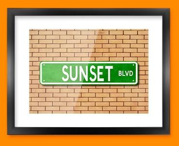 Sunset Blvd US Street Sign Framed Print