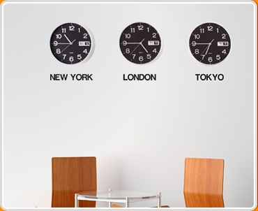 Time Zone City Names Wall Sticker