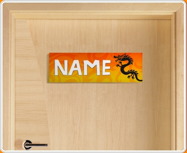 Tribal Dragon Personalised Name Children's Bedroom Door Sign
