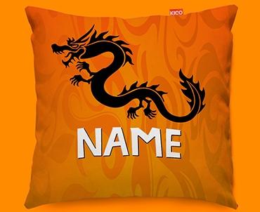 Tribal Dragon Personalised Childrens Name Sofa Cushion