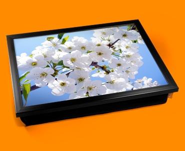 White Flowers Cushion Lap Tray