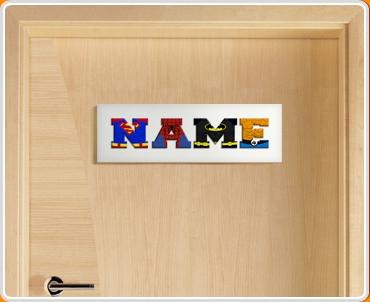 White Superhero Name Bedroom Door Sign